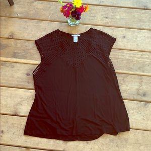 H&M Black Lace Detail Tank Top Sz L